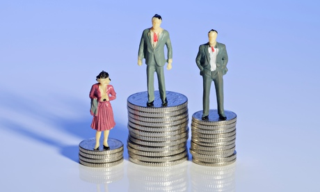 Mini plastic men and a woman standing on piles of money